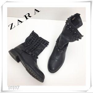 Zara Studded Biker Ankle Boots Black Leather